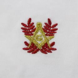 Paire de gant pour les tenues maçonniques broderie rouge et or.