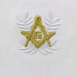 Gant Blanc Coton Franc Maçon broderie Blanche et Or.