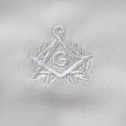 Gant Blanc Coton Franc Maçon broderie blanche.