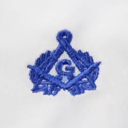 Gant Blanc Nylon franc maçon broderie bleue