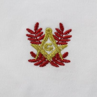 Gant Blanc Nylon Franc Maçon broderie Rouge et Or.