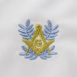 Le gant nylon blanc franc maçon broderie bleue et dorée.