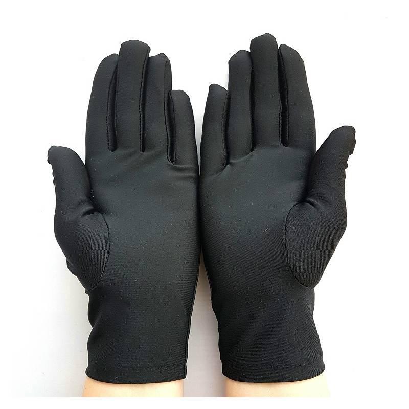 bb8764a3e33c1 gants en satin noir, taille unique.