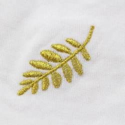 Gant Blanc Coton Franc Maçon broderie Feuille Acacia Dorée.