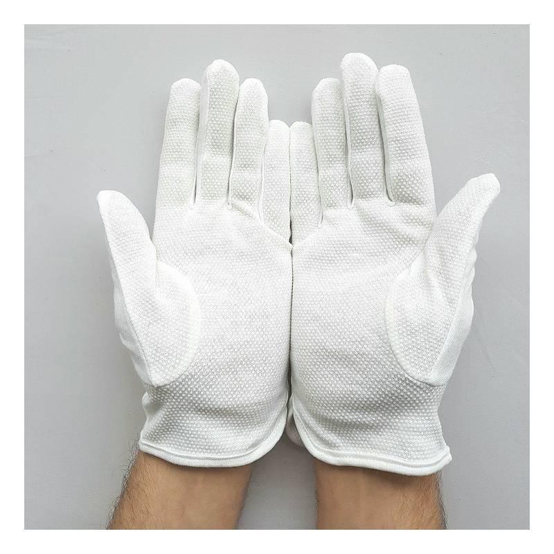 gants blanc coton avec grip pvc pour attraper petits objets papiers. Black Bedroom Furniture Sets. Home Design Ideas