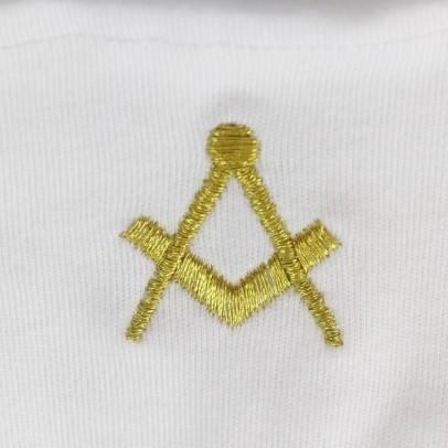 Gant Blanc Coton Franc Maçon broderie Equerre et compas Dorée.