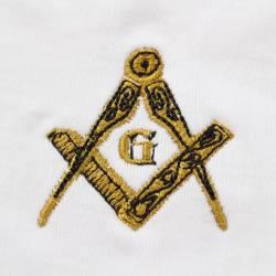 Gant Blanc Coton Franc Maçon broderie grade de compagnon Dorée.